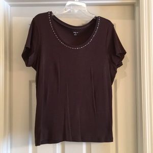 Style & Co Brown Top with Shine, XL